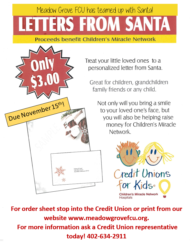 Santa Letters 2020. Print form or call the Credit Union at 402-634-2911. Cost is $3.00. Due November 15, 2020.